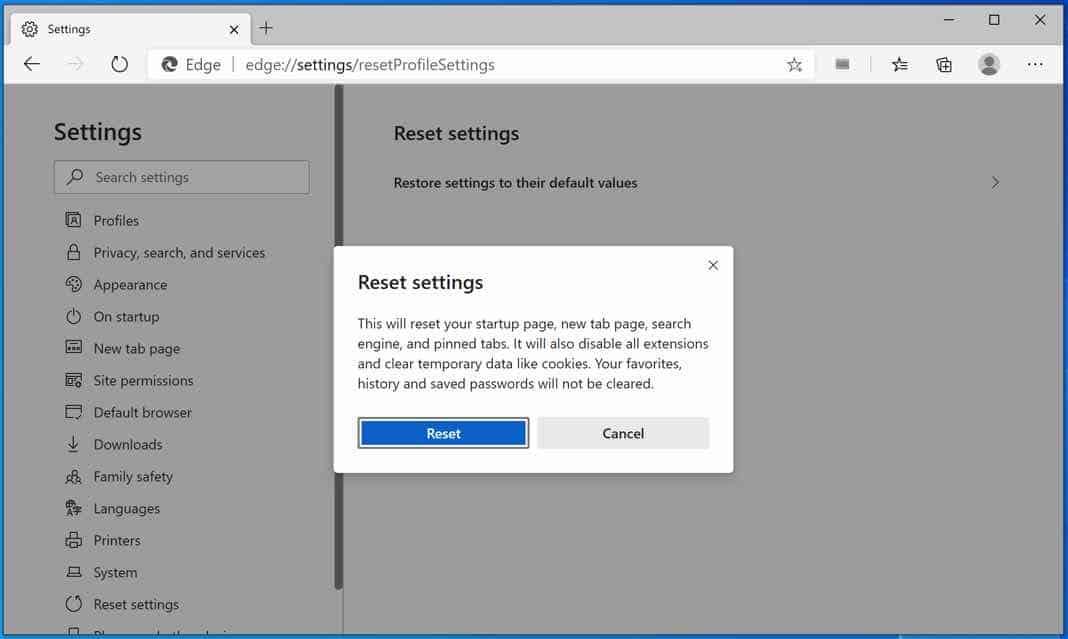 réinitialiser Microsoft Edge