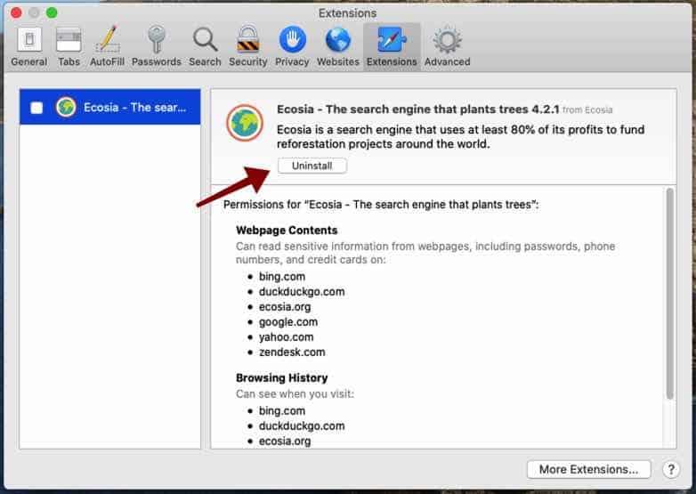 desinstalar la extensión Safari para Mac