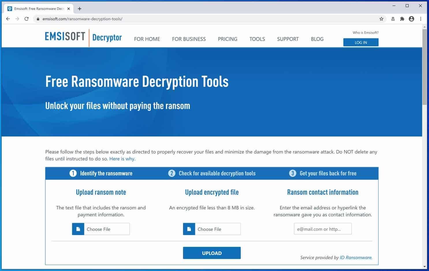 ferramentas de descriptografia emsisoft ransomware