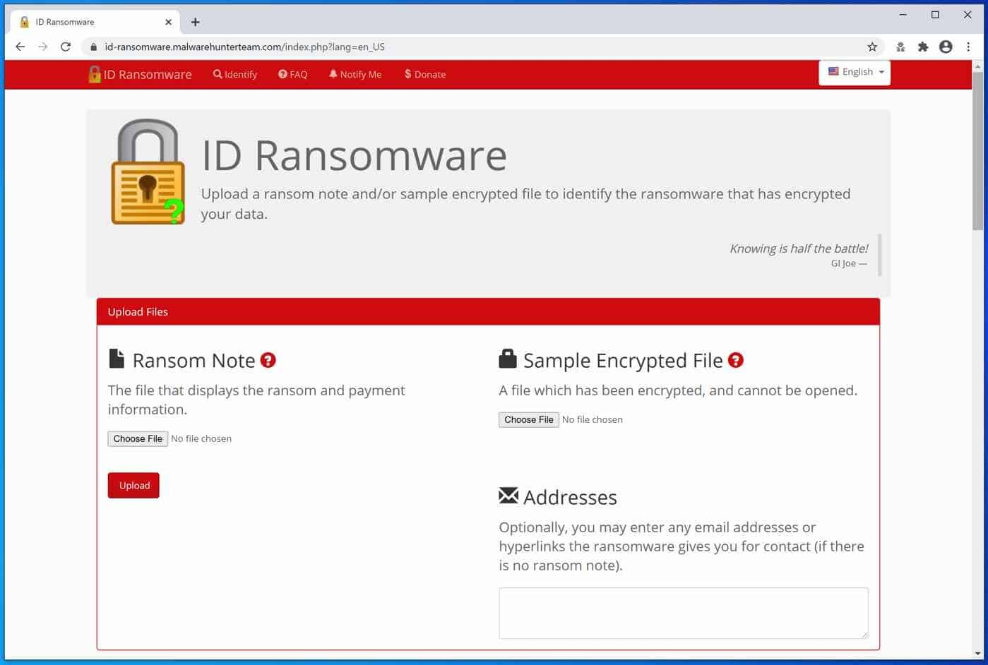 site Web id-ransomware