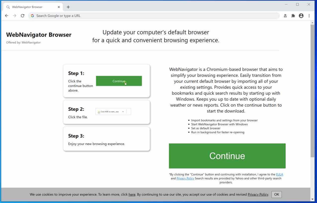 Fenêtre contextuelle du navigateur WebNavigator