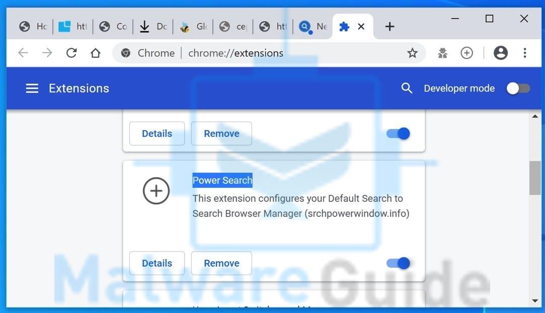 Browserextensie Power Search