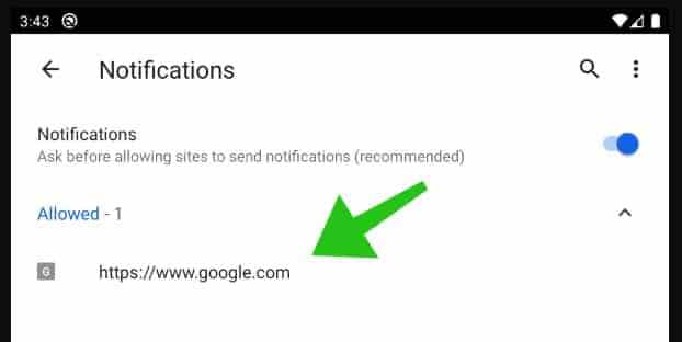 paramètres du site Web de notification google chrome android