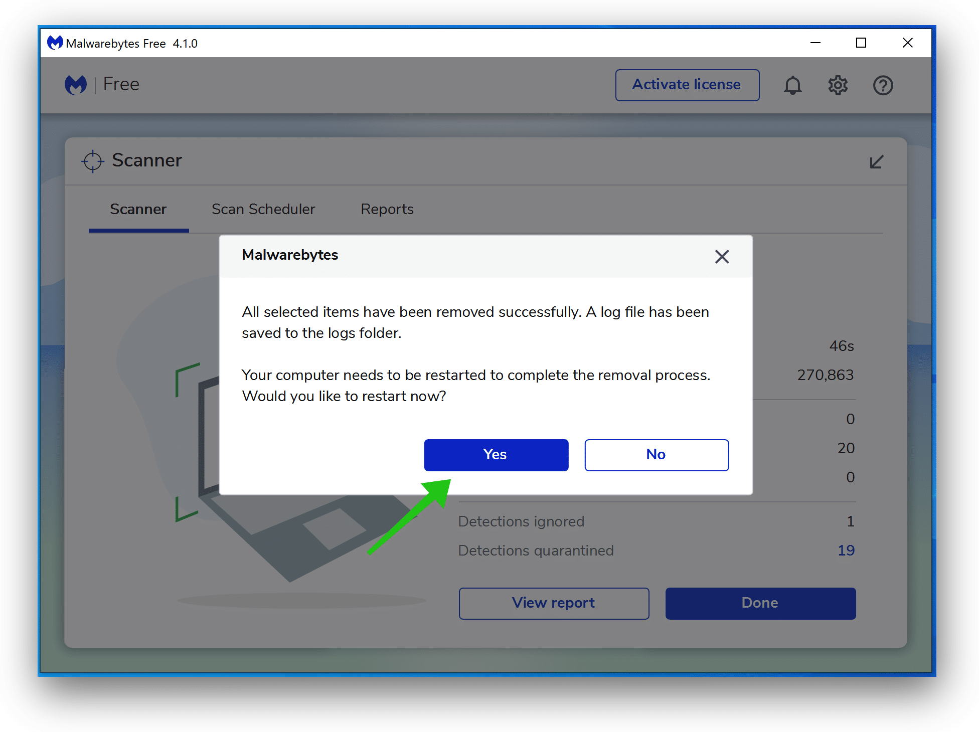 Starten Sie Windows neu - Malwarebytes