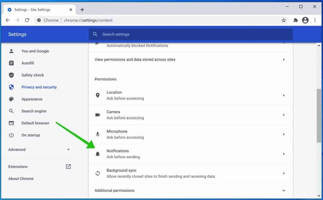 configuración de notificaciones google chrome