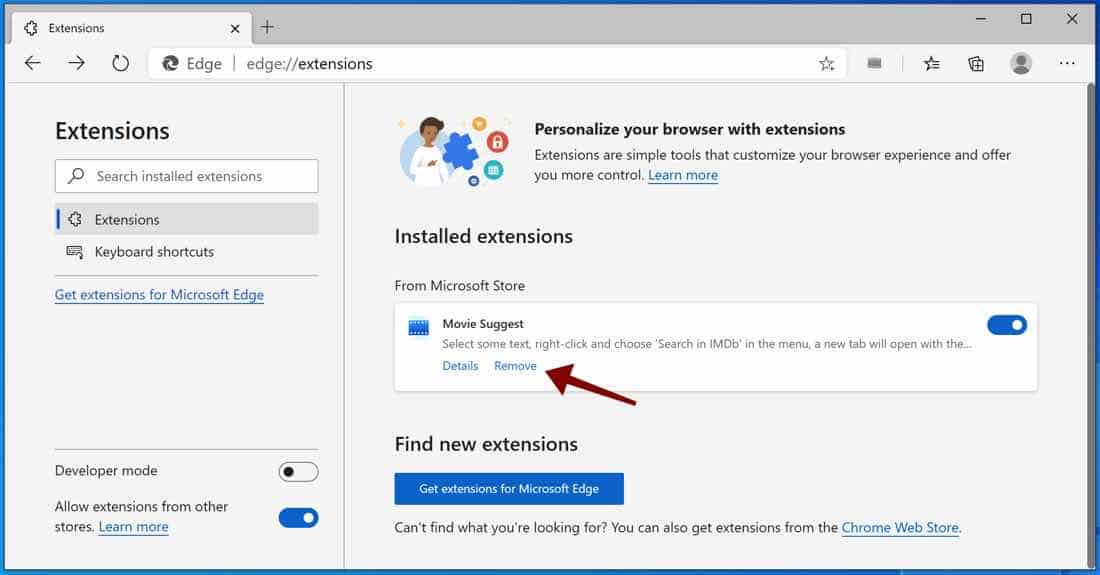 supprimer l'extension Microsoft Edge