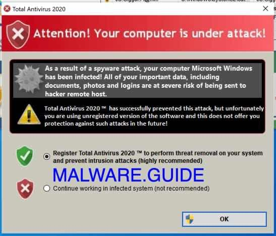 total antivirus 2020 fake virus alert
