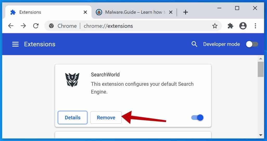 SearchWorld adware extension google chrome