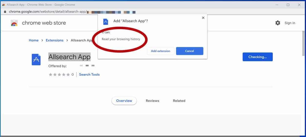 Permisos de adware de la aplicación Allsearch