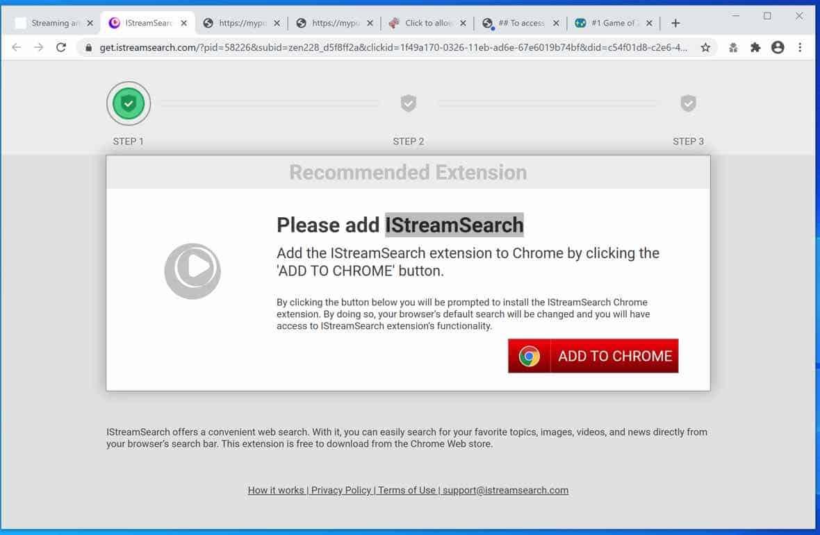 Ventana emergente de IStreamSearch.com