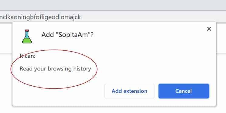 SopitaAm extension permissions google chrome