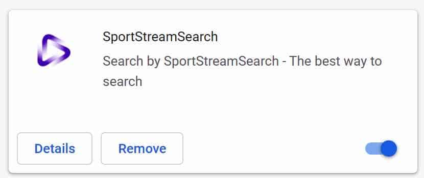 SportStreamSearch extension google chrome