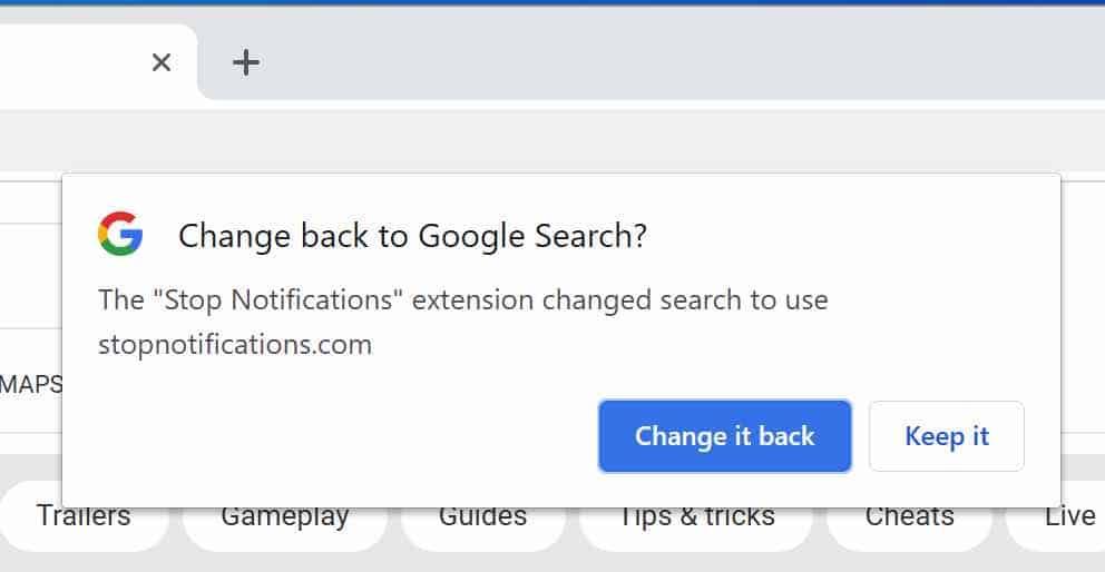 Stopnotifications.com default search engine