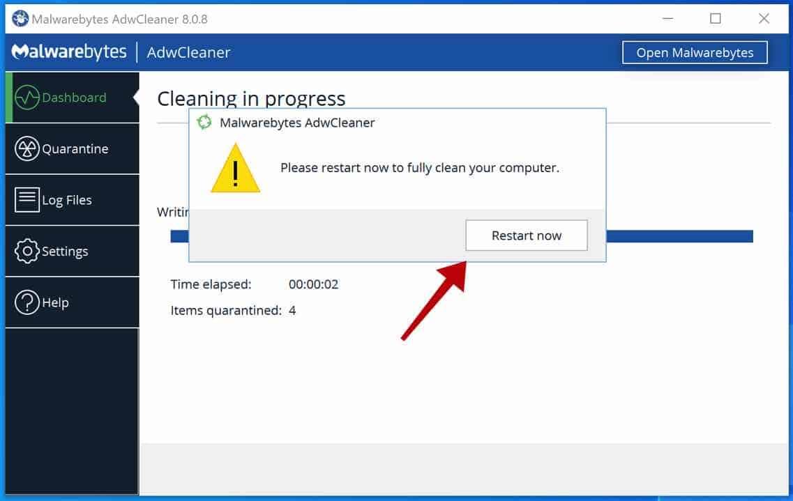 reinicialização do computador adwcleaner
