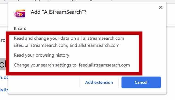 Permisos del navegador AllStreamSearch