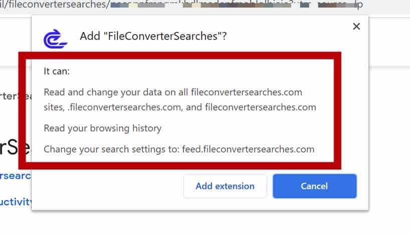 Permissões do navegador FileConverterSearches
