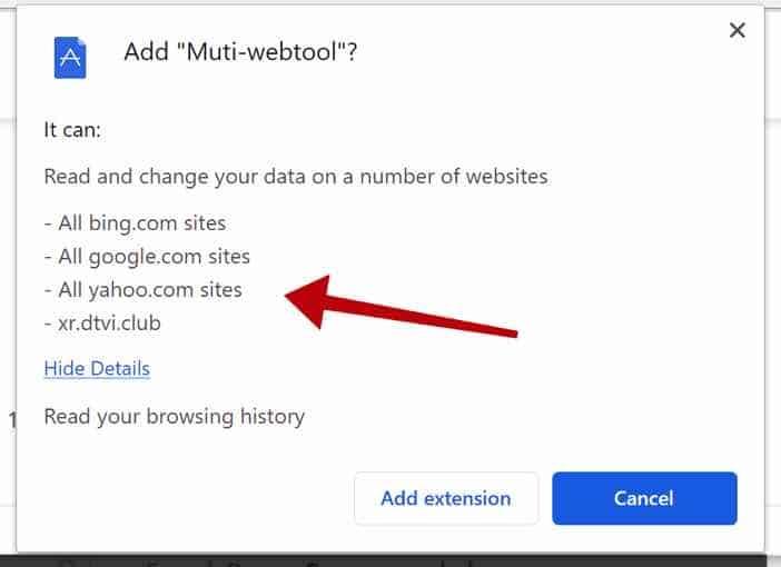 Permissões do navegador Muti-webtool