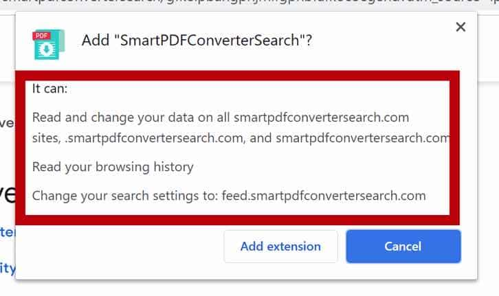 Permissões do navegador SmartPDFConverterSearch