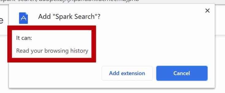 Permissões do navegador Spark Search