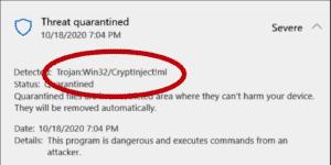 Trojan Win32 CryptInject ml