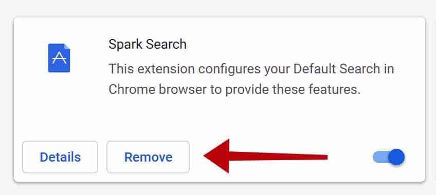 remover extensão Spark Search