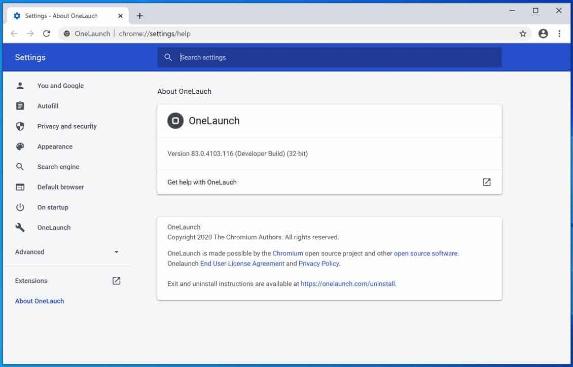 OneLaunch web browser