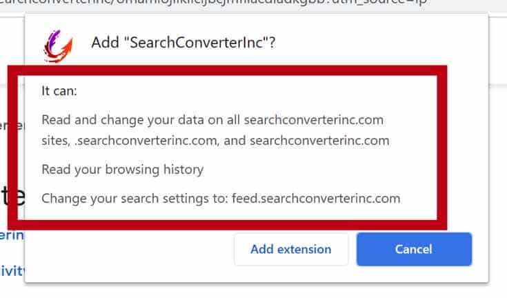 SearchConverterInc browser machtigingen