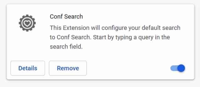 Suppression de l'extension Conf Search