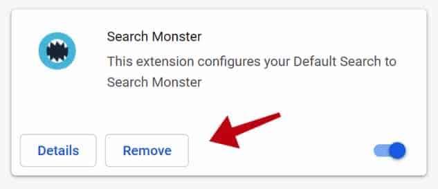 Eliminación de monstruos de búsqueda google chrome