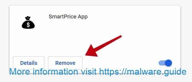 désinstaller l'extension d'application SmartPrice de Google Chrome